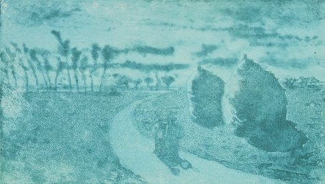 Camille Pissarro, Twilight With Haystacks (1879), aquatint, 12.6 x 20.3 cm, National Gallery of Canada